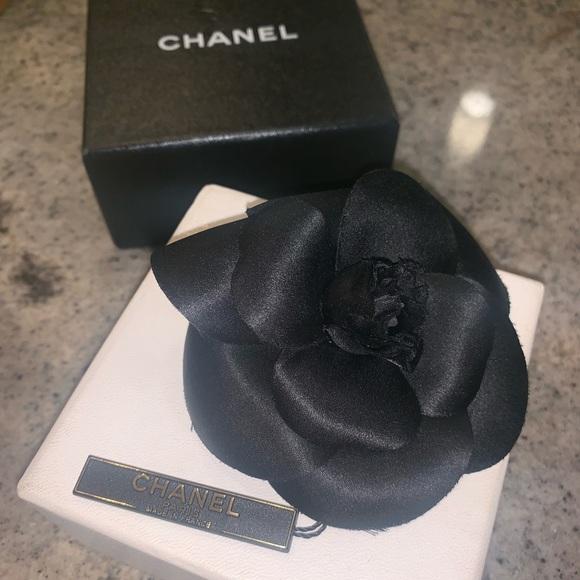NEW Signature CHANEL Black Camellia Flower Brooch